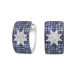 Mono Star earrings wide Blue Sapphire - Natkina