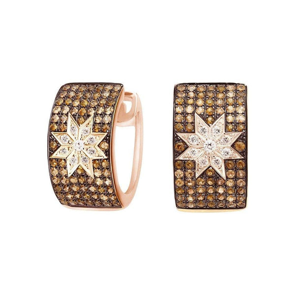 Mono Star earrings wide Champagne Diamonds - Natkina