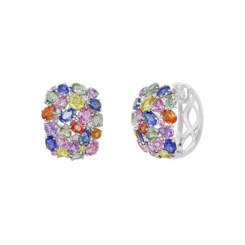 Multicolour White Gold Earrings - Natkina