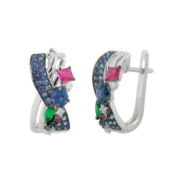Multisapphire Blue Diamond Earrings - Natkina