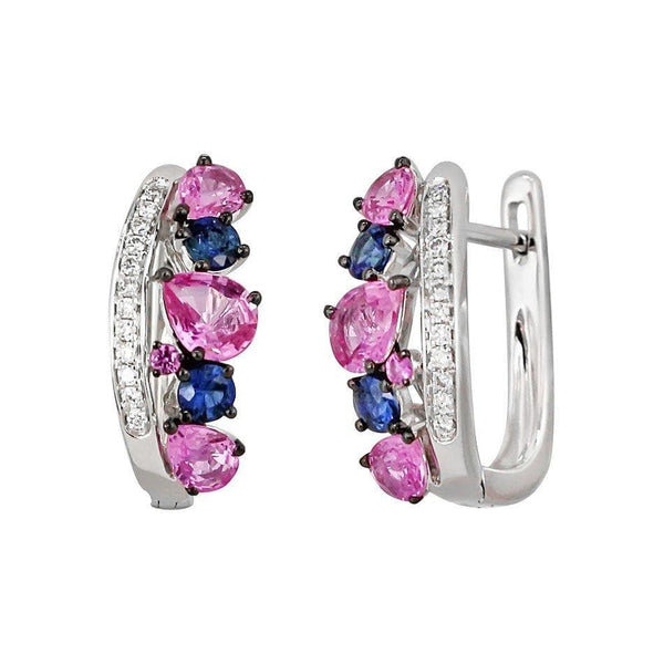 Multisapphire Collection Pink, Diamond Earrings - Natkina