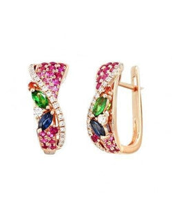 Multisapphire Signature Diamond Earrings - Natkina