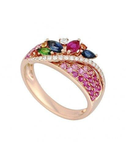 Multisapphire Signature Diamond Ring - Natkina