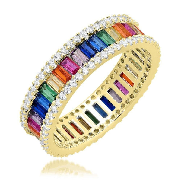 One Row Rainbow Silver Ring - Natkina