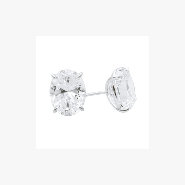Oval Cut Diamond Imitation Stud Silver Earrings - Natkina