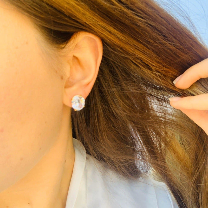 Oval Cut Stud Earrings - Natkina