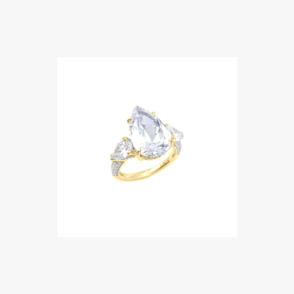 Pear Cut Diamond Imitation Silver Ring Kim - Natkina