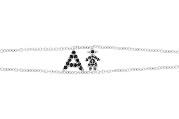 Personalized Black Diamond Bracelet Big Letter Double Chain & Diamond Girl Charm - Natkina