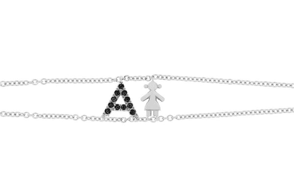 Personalized Black Diamond Bracelet Big Letter Double Chain & Girl Charm - Natkina