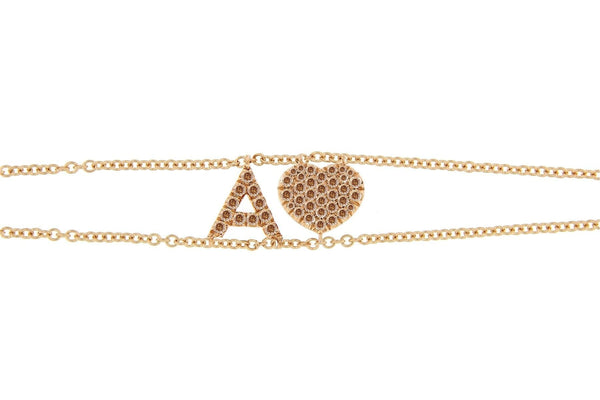 Personalized Brown Diamond Bracelet Big Letter Double Chain & Diamond Heart Charm - Natkina