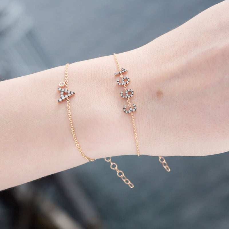 Personalized Brown Diamond Bracelet & Diamond Charm Big Letter - Natkina