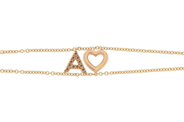 Personalized Brown Diamond Bracelet Double Chain & Diamond Charm Big Letter - Natkina