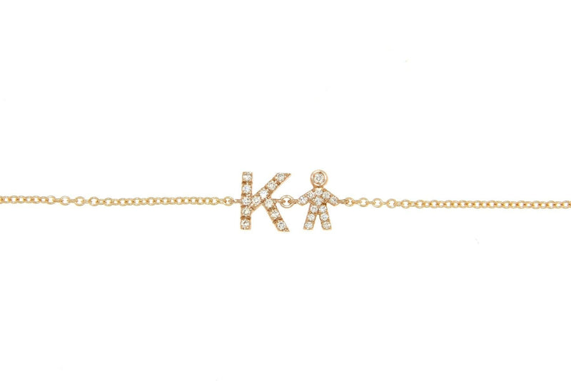 Personalized Diamond Bracelet & Diamond Boy Charm - Natkina