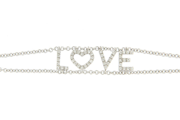 Personalized Diamond Bracelet Multiple Letters, Double Chain - Natkina