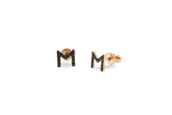 Personalized Diamond Earrings 1 letter 7mm - Natkina