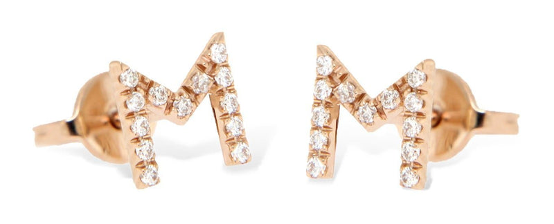 Personalized Diamond Mono Earring 1 letter - 7mm - Natkina