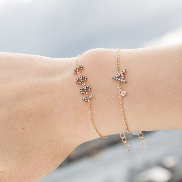 Personalized White Diamond Bracelet & Diamond Charm Big Letter - Natkina