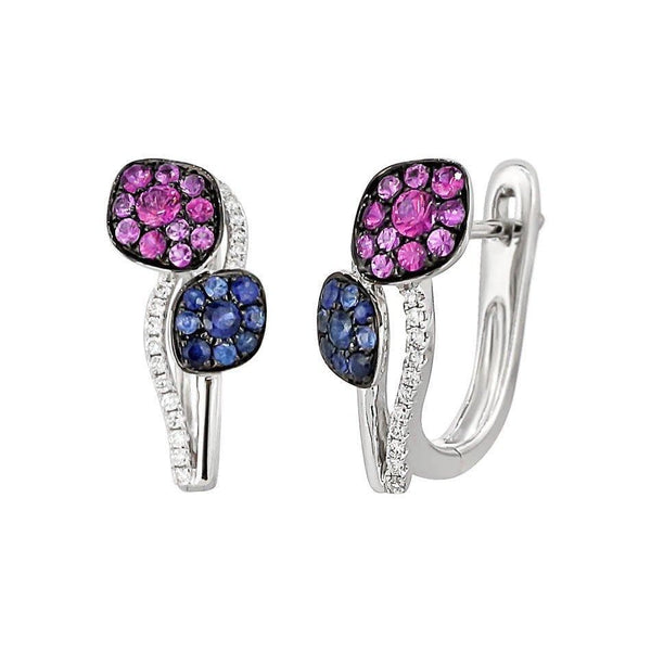 Pink and Blue Sapphire Leaf Diamond Earrings - Natkina