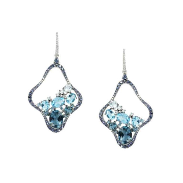 Precious Blue Sapphire / Topaz White Diamond White Gold Drop Earrings - Natkina