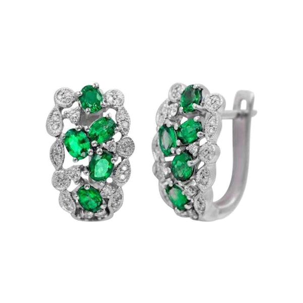 Precious Green Emerald White Diamond Gold Sophisticated Lever-Back Earrings - Natkina