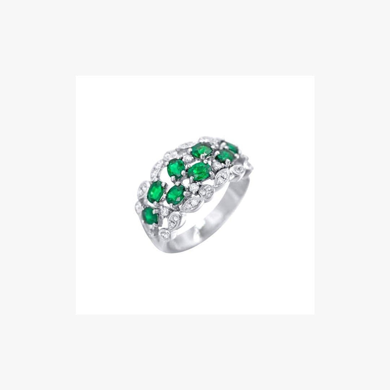 Precious Green Emerald White Diamond White Gold Sophisticated Daily Ring - Natkina
