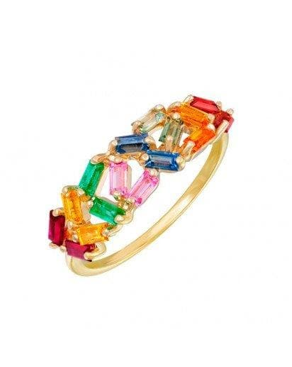 Precious Sapphire Emerald Ring Yellow Gold Cocktail Colorful Ring - Natkina