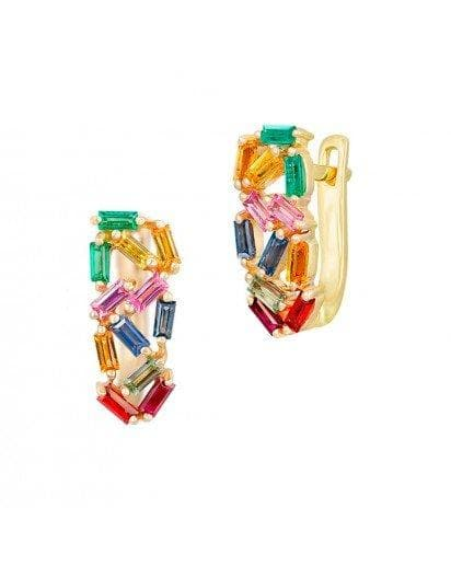 Rainbow Multistone Rose Yellow Sapphire Ruby Emerald Gold Lever-Back Earrings - Natkina