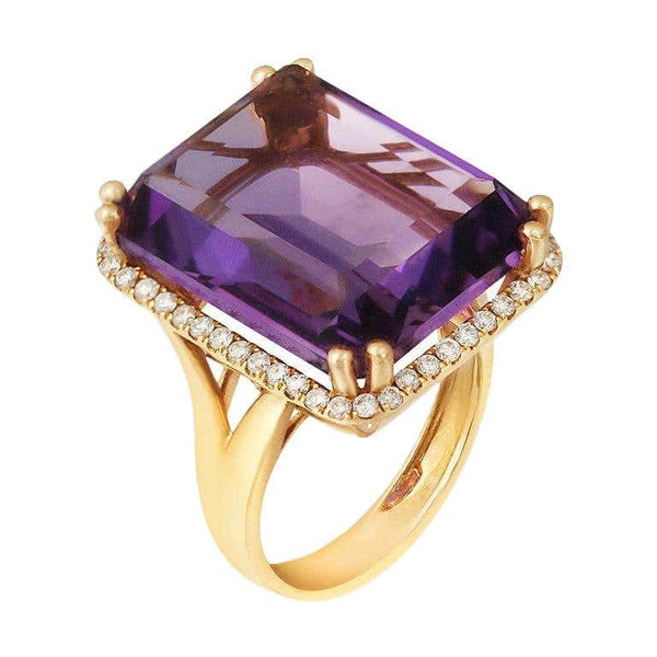 Rare Amethyst White Diamond Yellow Gold Ring - Natkina
