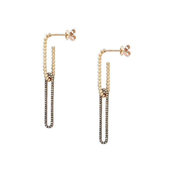 Rare Cognac Diamond Yellow Gold Drop Earrings - Natkina