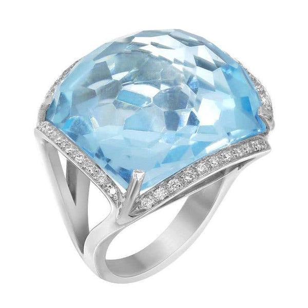 Rare Diamond Certified Blue Topaz Gold 18 Karat Statement Ring - Natkina