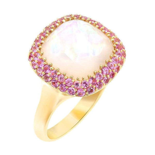 Rare Pink Sapphire Mother of Pearl Rock Crystal 18 Karat Gold Diamond Ring - Natkina