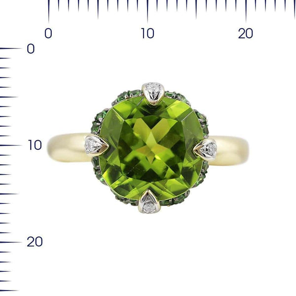 Rare Tsavorite Chrysolite Diamond Yellow Gold Ring - Natkina