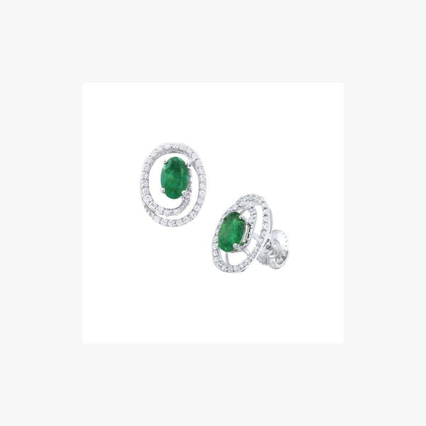 Round Emerald Stud Earrings For Her - Natkina