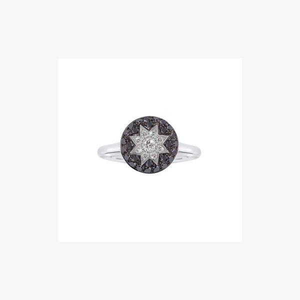 Round Star Black Diamond Ring - Natkina