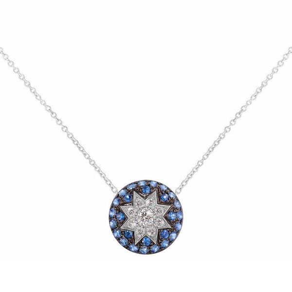 Round Star Blue Sapphire White Diamond Necklace - Natkina