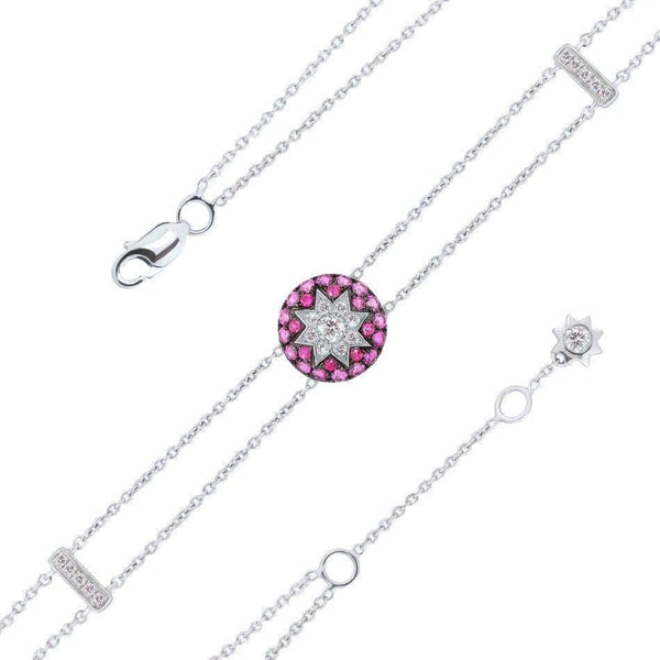Round Star Ruby White Diamond Bracelet - Natkina