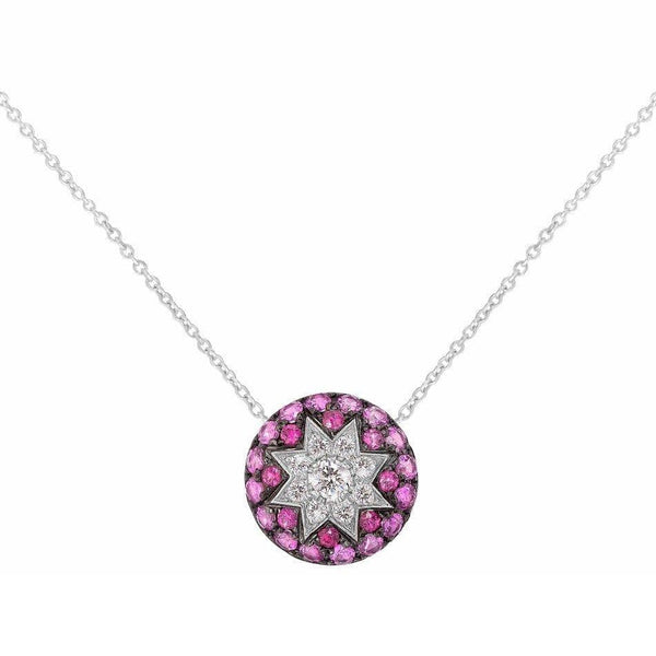 Round Star Ruby White Diamond Necklace - Natkina