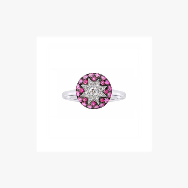 Round Star Ruby White Diamond Ring - Natkina