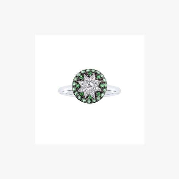 Round Star Tsavorite White Diamond Ring - Natkina