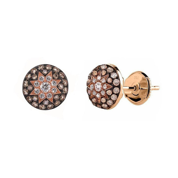 Round Stud Star Champagne Diamond Earrings - Natkina