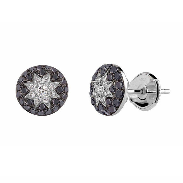 Round Stud Star Diamond Earrings Black - Natkina