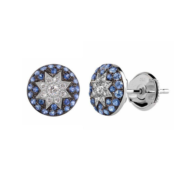 Round Stud Star Earrings Blue Sapphire - Natkina