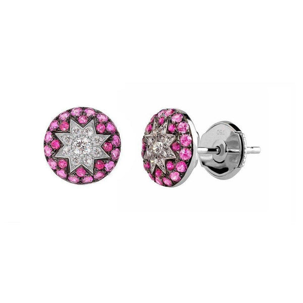 Round Stud Star Earrings Ruby - Natkina