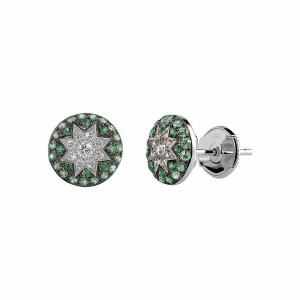 Round Stud Star Earrings Tsavorite - Natkina