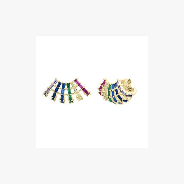 Shell Rainbow Silver Earrings - Natkina