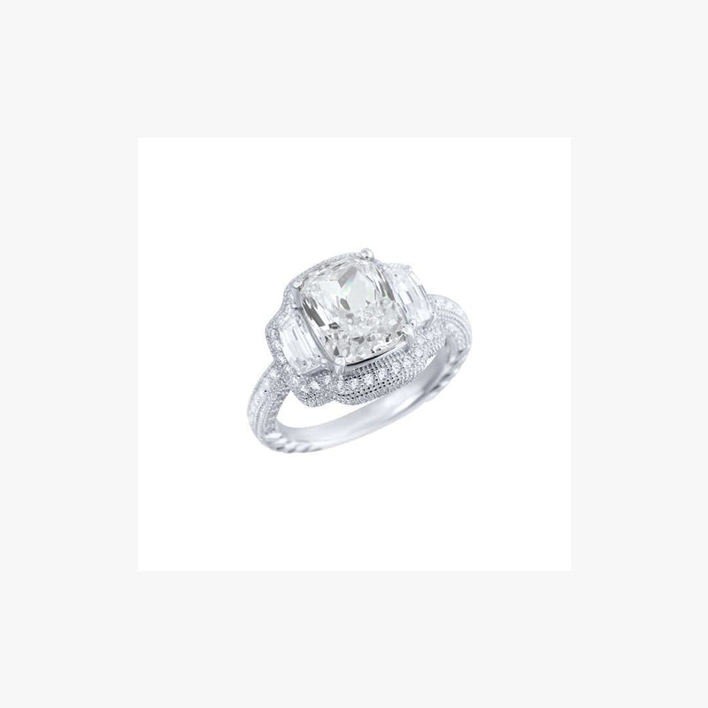 Shiny Silver Ring Diamond Imitation - Natkina