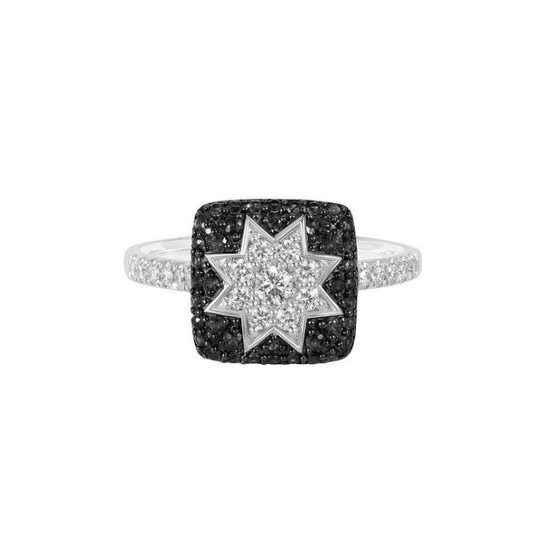 Square Star Black Diamond Ring - Natkina