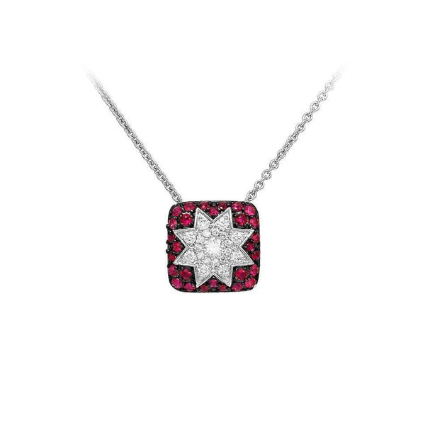 Square Star Ruby White Diamond Necklace - Natkina