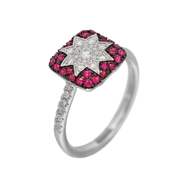 Square Star Ruby White Diamond Ring - Natkina