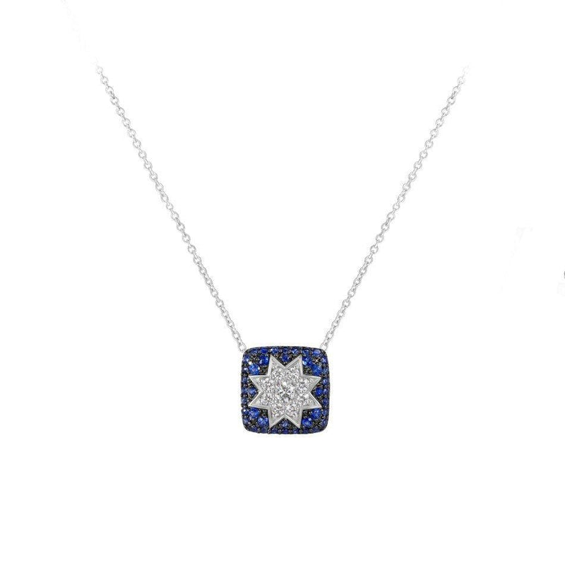 Square Star Sapphire White Diamond Necklace - Natkina